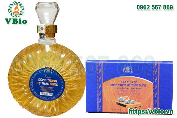 Combo rượu Đông trùng hạ thảo loại chai 500ml và 1 hộp trà Đông trùng hạ thảo